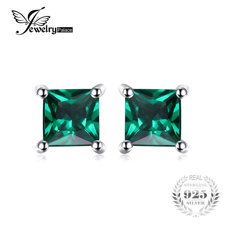 Square Created Emerald Sterling Silver Stud Earrings // Price: $10.95 & FREE Shipping //  We accept PayPal and Credit Cards.    #dress
