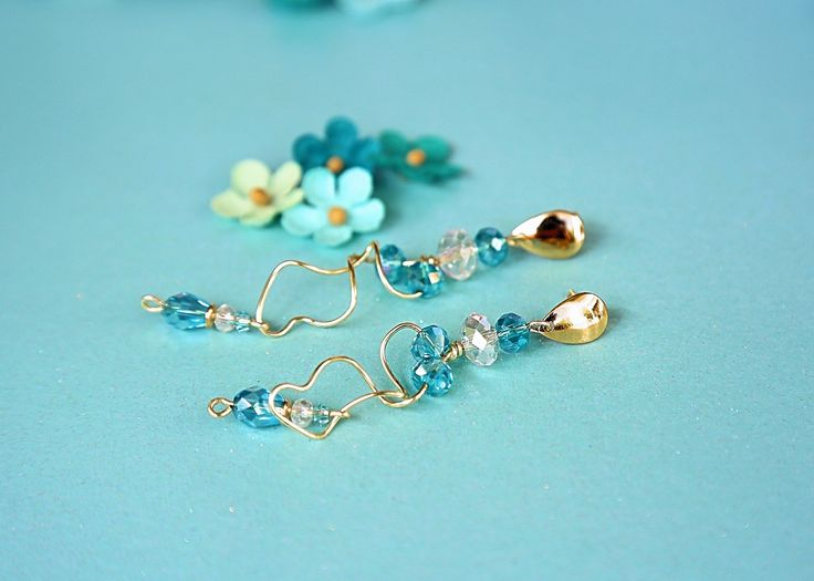 Funky Twisted Wire Aqua Dangle Earrings