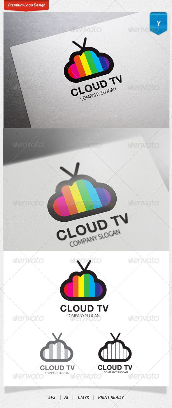 Cloud TV Logo — Vector EPS #television #production • Available here → https://graphicriver.net/item/cloud-tv-logo/5141053?ref=pxcr
