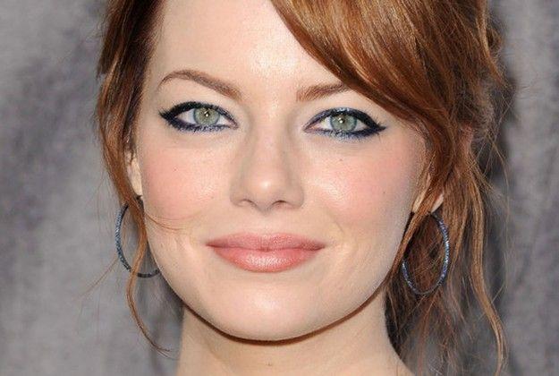 Trucco occhi verdi, eyeliner nero per Emma Stone