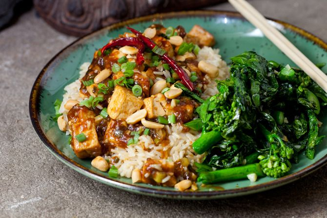 Kung Pao Tofu with Chinese Broccoli & Brown Rice. Visit http://www ...