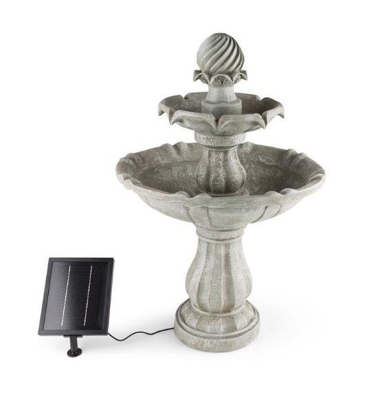 Fuente solar imitación piedra abrevadero de aves