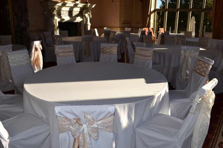 Mixed Gold, Champagne and Ivory Satin Double Lace Bows on White Chair Covers
