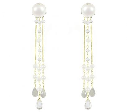 Sterling silver and 14ct gold filled long earrings with large white cultured fresh water pearl http://www.mounir.co.uk/collections/bridal/4446_white_pearl_long_earrings