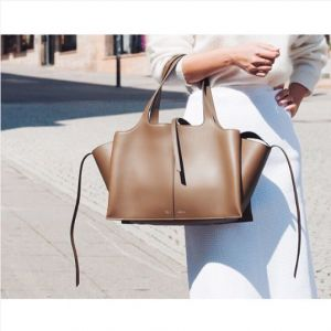 Celine Taupe Tri-Fold Medium Shoulder Bag 2