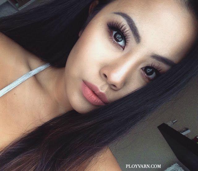 Huda Beauty Liquid Matte Lipstick and Lip Contour in 'Bombshell' asian makeup natural glam monolid