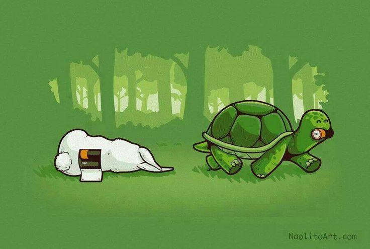 Remake Le lièvre et la tortue version piles Duracell !