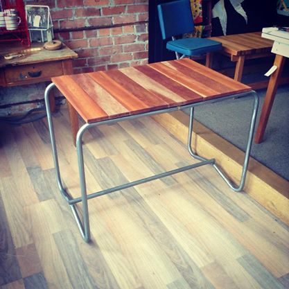 Metal frame desk with new wood slat top - The General Store