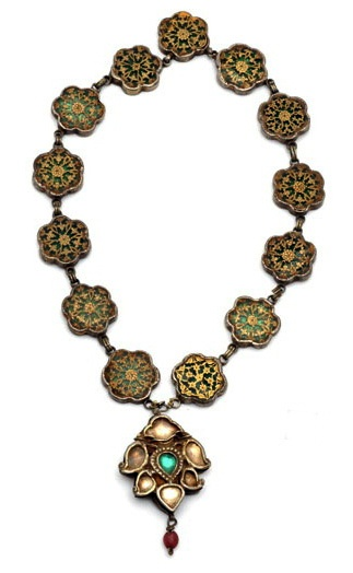India | A 'Thewa' necklace from Rajasthan; silver, gold, enamel and glass