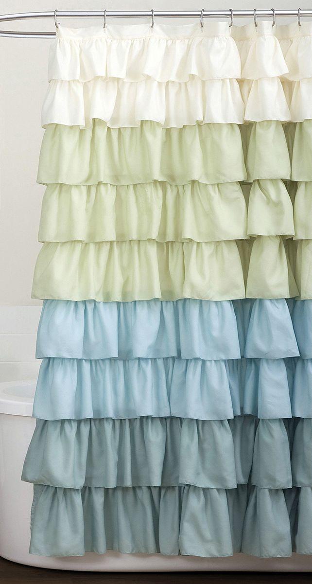 White & Blue Ruffle Shower Curtain