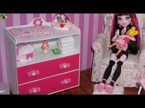 Como fazer cômoda trocador para bêbe de boneca Monster High, Barbie, MLP, EAH, etc - YouTube