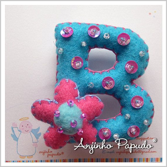 Letter Brooch B felt pin embroidered brooch a by anjinhopapudoShop.