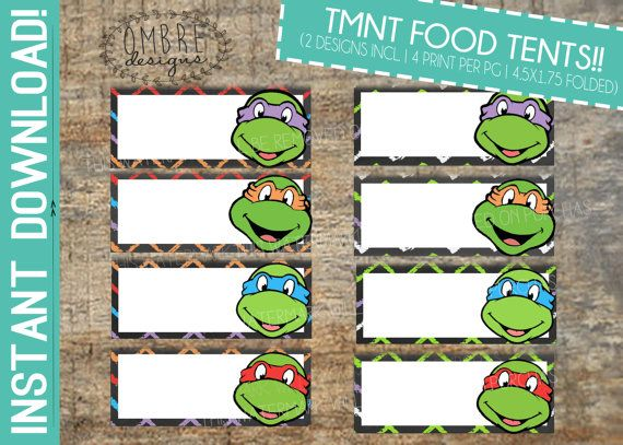 Decorate your TMNT Birthday with Ninja Turtles Food Tents - a great addition to your Ninja Turtle Party! ➼ DETAILS: . File Size: 8.5x11 . Each topper measures 4.5x1.75, folded . 4x designs will print per page *Digital File only. No physical Items are included in this listing. ➼ To customize up to 12 Food Tents with the text of your choice, simply add the following listing into your cart, (in addition to food tent listing). Please choose: Food Tent: 12 Text from the drop down menu…