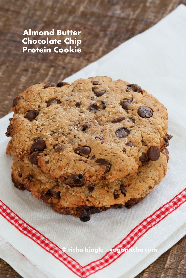 Almond Butter Chocolate Chunk Protein Cookies - PlantFusion Review + Giveaway. | Vegan Richa