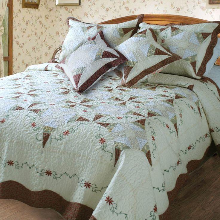 2 classic cotton 5piece quilt set queen patchwork ivory
