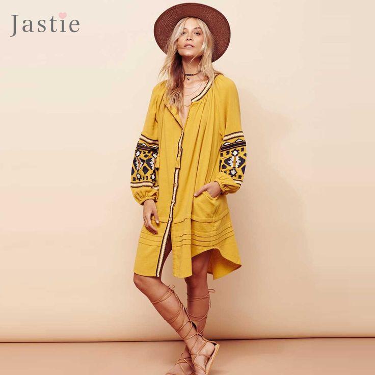 ==> [Free Shipping] Buy Best Jastie Vintage Embroidery Boho Dress Oversize Women Dresses Lantern Sleeve Loose Beach Mini Dress Chic Casual Feminino Vestidos Online with LOWEST Price | 32793163123