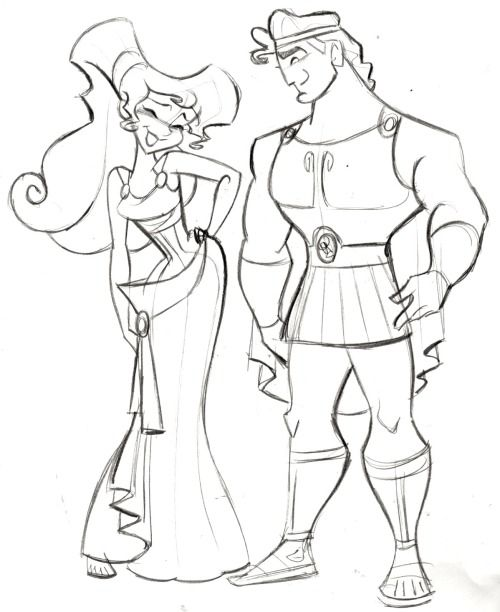 "Hercules and Megara - (C)DISNEY - Steve Thompson Another film I worked on back in the day was ""Hercules"". I actually worked on the characters ""Pain and Panic"", but thought I'd do a quick sketch of the two main characters.  i've recently posted Jane from Tarzan, Kida from Atlantis and now Meg. I'm thinking maybe Esmerelda From Hunchback next? Hmmm…….."