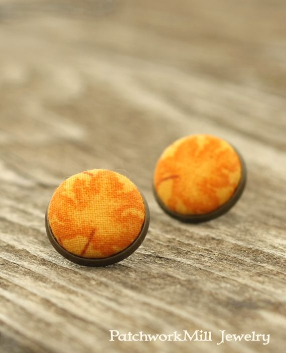 Halloween Stud Earrings, Autumn Pumpkin Leaves Studs, Yellow Leaves, Orange Natural Rustic, Fabric Buttons, Jewelry, Antique Posts by PatchworkMillJewelry