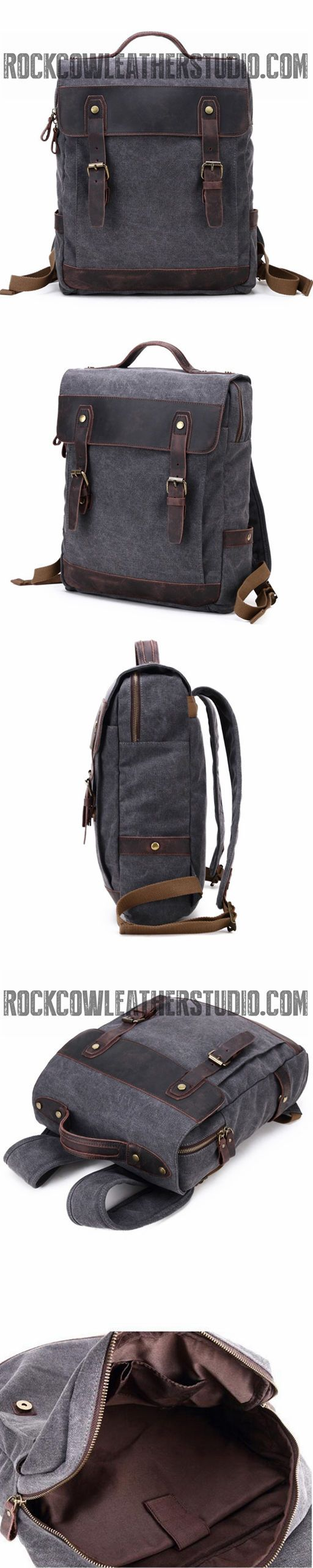 Waxed Canvas School Backpack, Casual Daily Backpack, Hiking Bag FX064