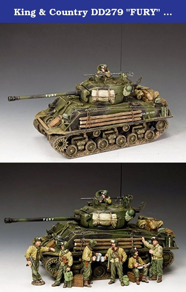 """King & Country DD279 """"FURY"""" M4A3E8 Easy-Eight. From experience, there is only one WW2 tank that comes close to rivalling the popularity of the German """"TIGER"""" tank and that is the American """"SHERMAN"""". Here is the latest addition to the K&C Sherman stable: an M4A3E8 """"Easy-Eight"""" aptly-named """"FURY"""". They have based the model on the one that appeared in the recent movie of the same name that starred Brad Pitt as the tank Commander. As you can see this model is both """"battle-worn"""" and full of..."""