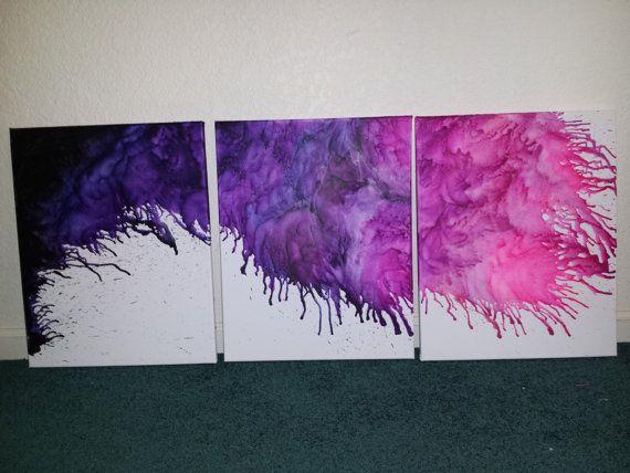 Original Abstract crayon drip 3 piece encaustic art wall hanging painting
