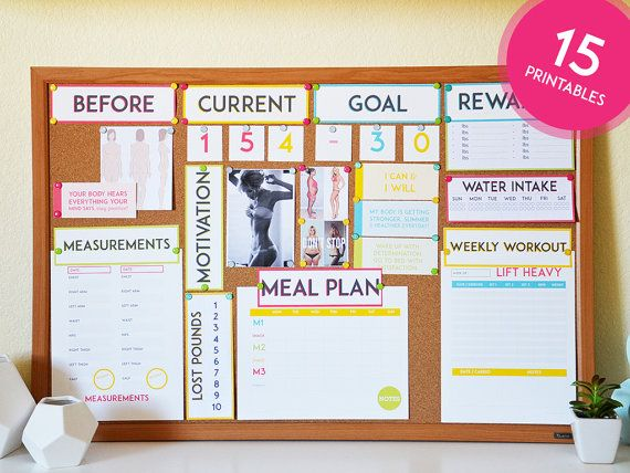 Motivational Health & Fitness Printables by SweetPaperTrail: Like full use of board, color, large, pictures, large labels, not overly messy, not chaotic in color, pictures or  papers