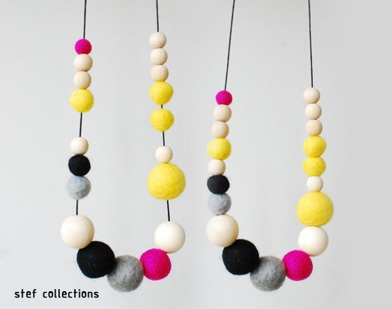 Felt Ball Necklace. Yellow Pink Necklace. Neon by StefCollections, $19.99