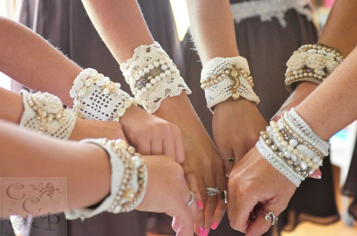 bridesmaids lace cuffs, boho, lovely, delicate