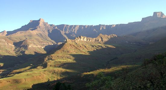 Amphitheatre at Sunset in Royal Natal Park located in uKahlamba Drakensberg Park, KwaZulu-Natal, South Africa