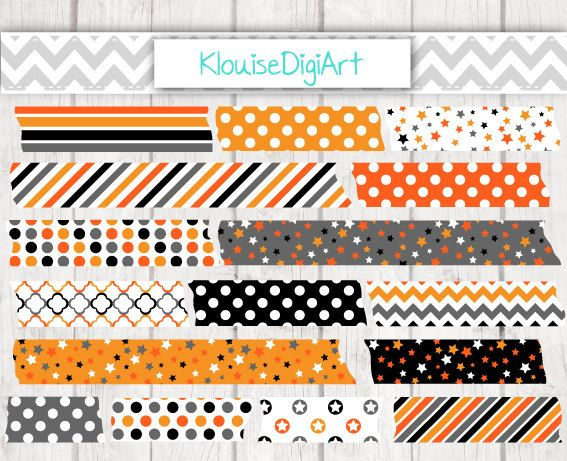 Halloween Holiday Printable Washi Tape Clipart by KlouiseDigiArt
