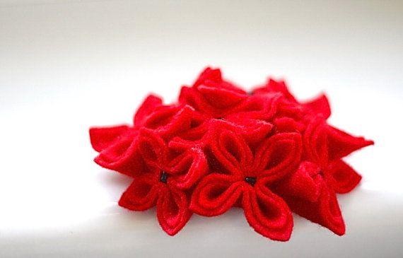 Sassy Red Flower Brooch by GoodFloristDesign on Etsy, $35.00