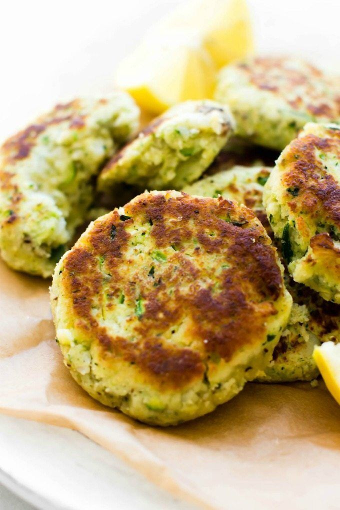 Vegetarian Meal Plans  : 4 Ingredient Zucchini Cauliflower Fritters (V, GF, P, DF)- Crispy, easy and oil-free, these veggie packed cauliflower rice fritters need just four ingredients and 5 minutes to whip up! A kid-friendly meat-free/vegetarian meal! {vegan, gluten free, paleo recipe}- thebigmansworld.com