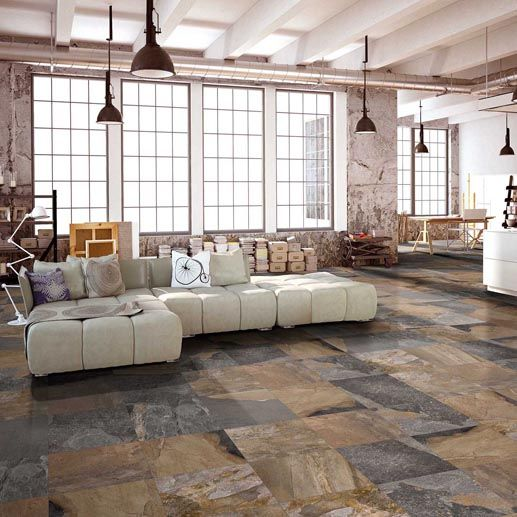 Using Warm Natural Tones Is A Big Trend For 2017 And These Stone Effect Porcelain Tiles Look Amazing On This Living Room Floor