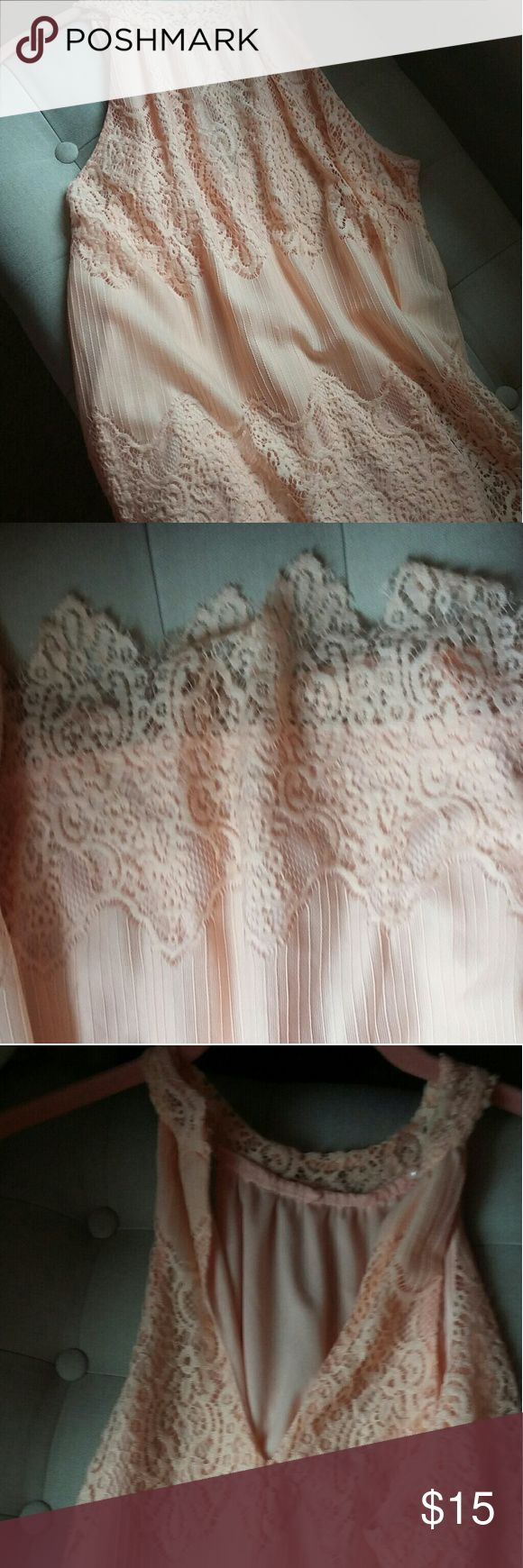 Peach lace dress Very soft Charlotte russe peachy creamsicile colored dress lace through out above the knee length, key hole back, very flattering only worn once!! Charlotte Russe Dresses Mini