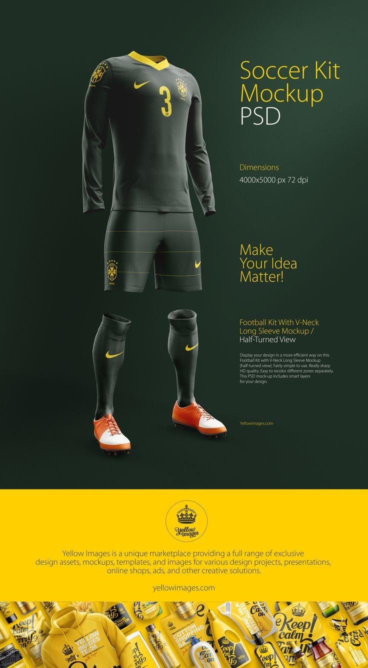 Soccer Kit With V-Neck Long Sleeve Mockup / Half-Turned View