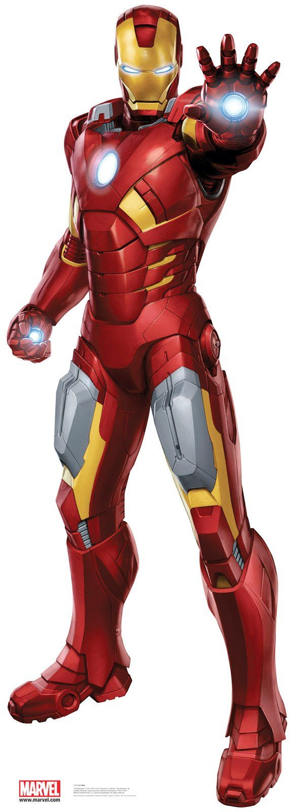 "Iron Man 6'4"" cardboard standup $39.99 from Birthday Express. Great photo opp for thank you cards!"