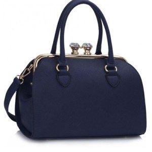 Geanta Eleganta Dama Navy Glennis - geanta eleganta de dama, cu manere duble, curea lunga, detasabila, buzunare interioare cu fermoar. culoare: Bleumaren