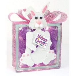 Nicole™ Crafts Easter Bunny Glass Block