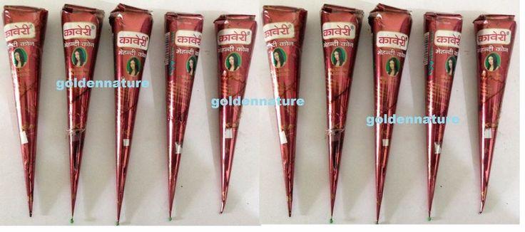 12 Natural Herbal Henna Cones Temporary Tattoo kit Body Art Mehandi ink kaveri #FRESHNATURALhennacones