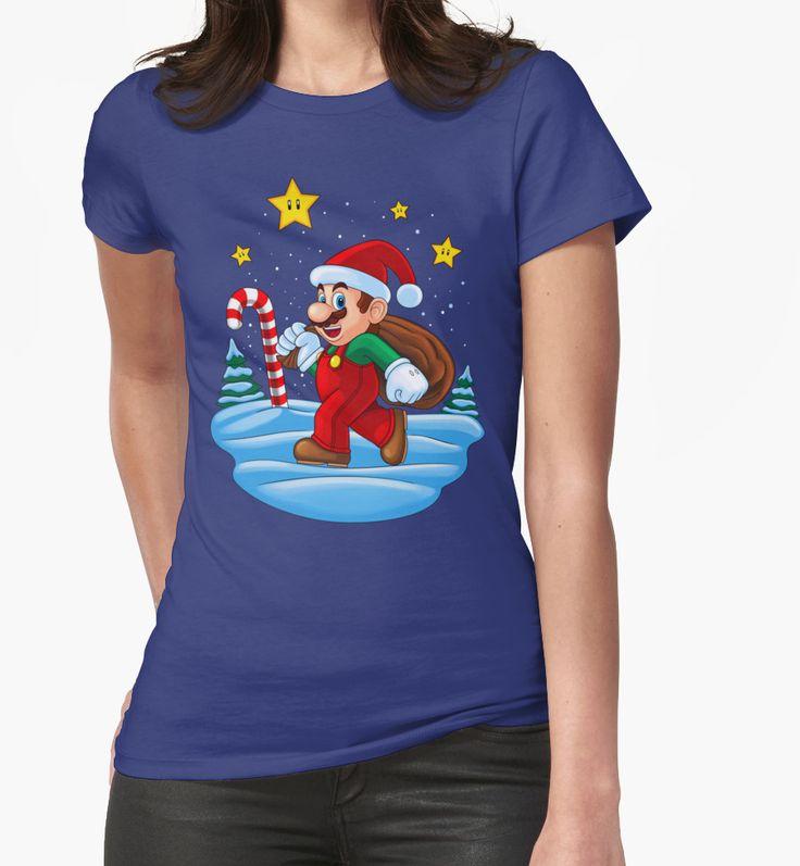 """Mario Xmas"" Womens Fitted T-Shirts by Remus Brailoiu | http://www.redbubble.com/people/remuscb/works/23996297-mario-xmas?asc=u&p=t-shirt&rel=carousel&style=womens | super mario, santa claus, xmas, christmas | #mario #mariobros #supermario #supermariobros #marioworld #xmas #santaclaus #christmas #gaming #tshirtdesign #graphicdesign"