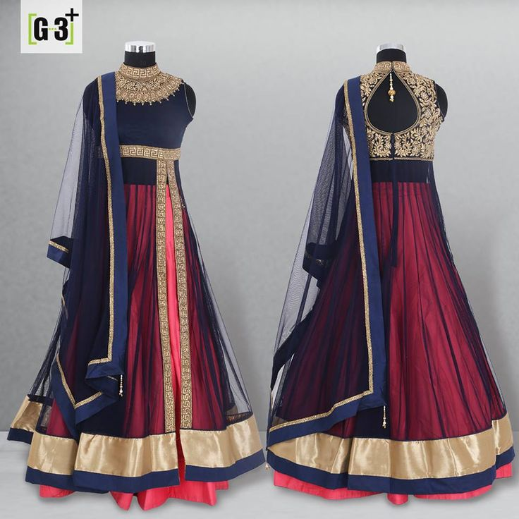 Style your Festive Glam look with the Indo Western Style of LehengFestive wear Mens Kurts suits for this #navratri season with festive colour options.. Simple and Elegant Navy & Pink Indowestern