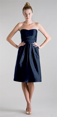 Jenny Yoo Lucy #700 silk shangtung in Capri Blue #dresses #navy #strapless #pockets