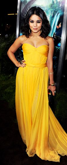 Vanessa Hudgens in Maria Lucia Hohan. Love the color and fit for petite girls like us.