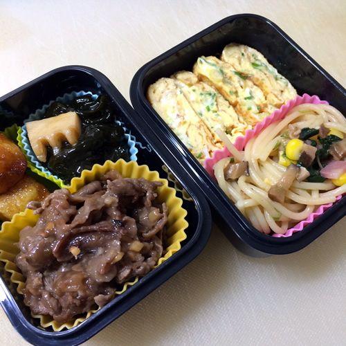 中華風牛肉炒めのトマト添え/わかめとたけのこの煮物 2014/06/14