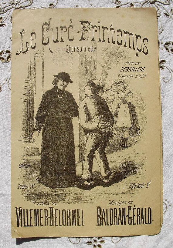 French Illustrated Antique Song / Sheet Music   Le by ChicEtChoc, $6.00