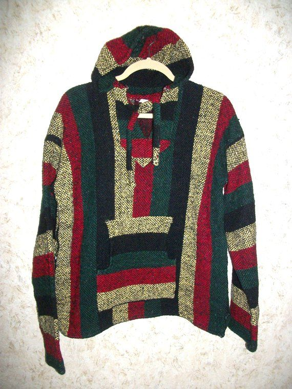 Vintage 90s Baja Striped Mexican Hoodie Surfer Pullover Sweatshirt Cotton  Blend Hooded Blue Green Red 1990s Retro Hipster Unisex Mens Large bdfa4ef0f