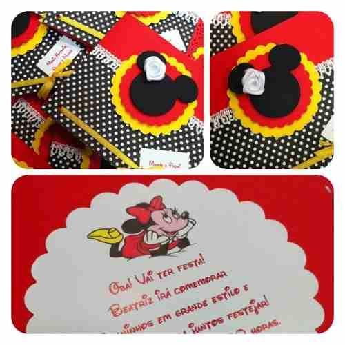 Convite Scrap Festa Infantil Tema Minnie