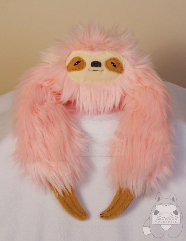 Sloth plushie stuffed toy PINK with TAN face by JanellesPlushies