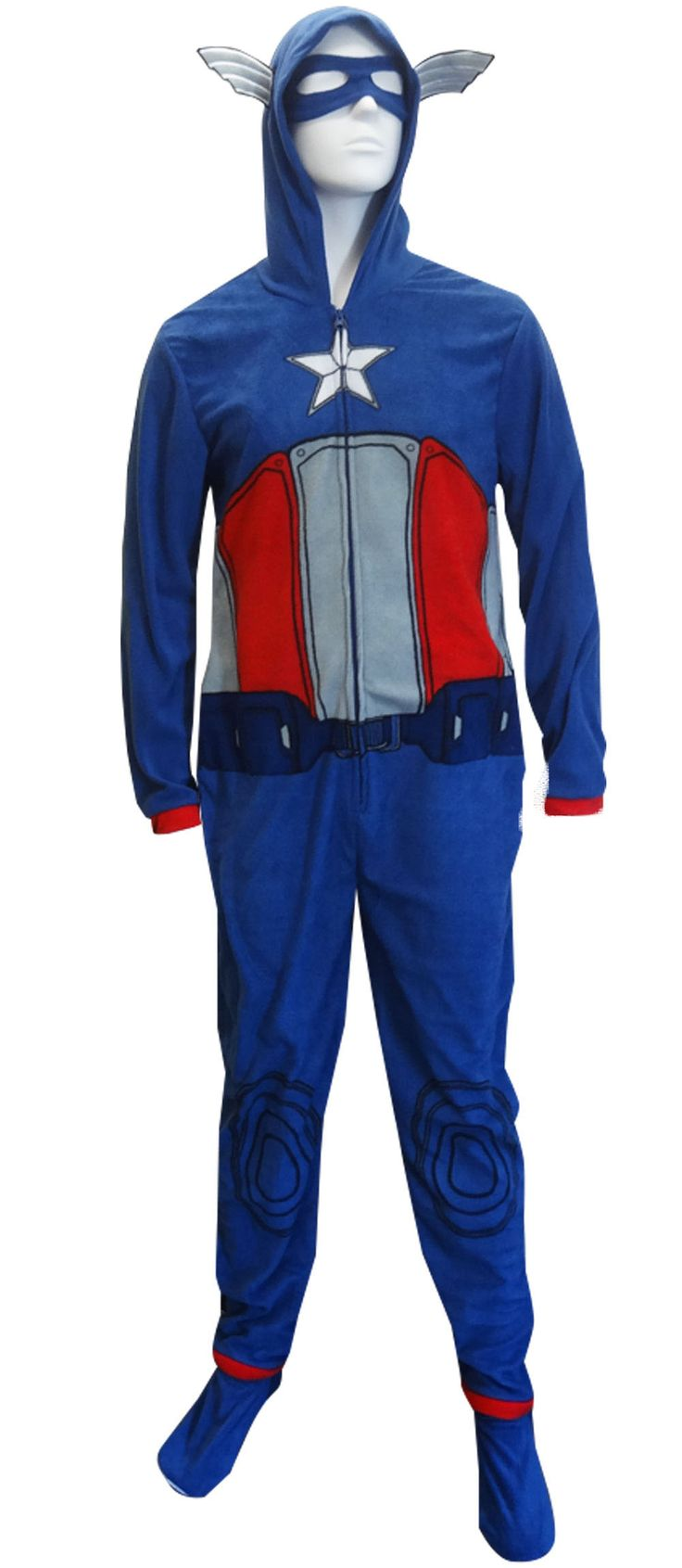 Marvel Comics Captain America Hooded Masked Onesie Pajama Who says adults have to have boring pajamas? Conquer the evil-doers i...
