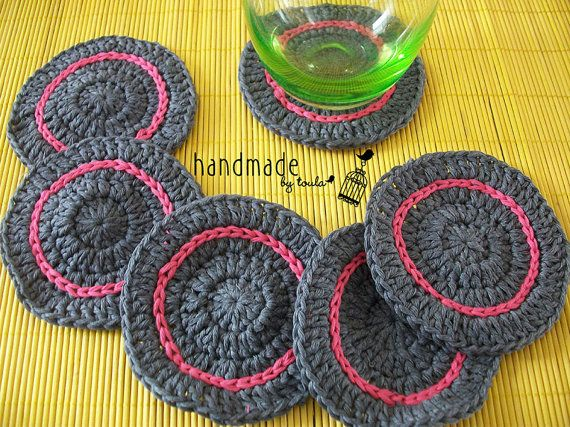 Crochet  Circle Coasters Set of 4 Set of 6 Set by HandmadeByToula, €4.90